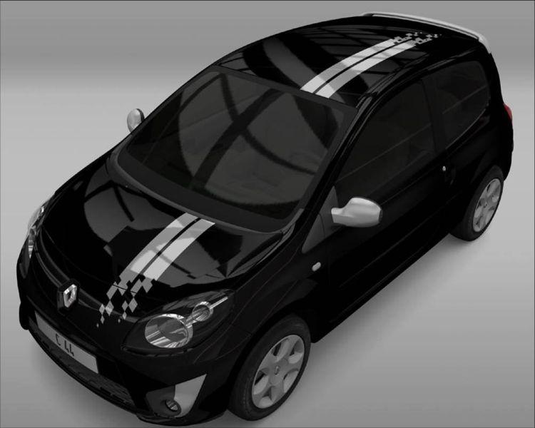 Designaufkleber Racing-Streifen grau (für Motorhaube und Dach)